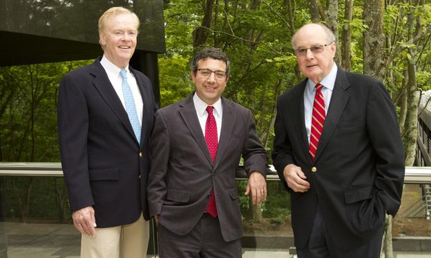 L-R: Matt Dwyer, Dwyer Law, with Paul Hotchkiss and Bill Bird, Bird Law Group/photo by John Disney