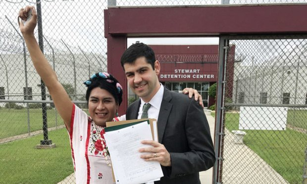Estrella Sanchez (left), and Jeff Fisher, her pro bono lawyer from Kilpatrick Townsend & Stockton. (Courtesy photo)