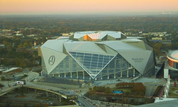 Mercedes Benz Stadium, Atlanta, home to the Atlanta Falcons. Photo by John Disney/ALM.