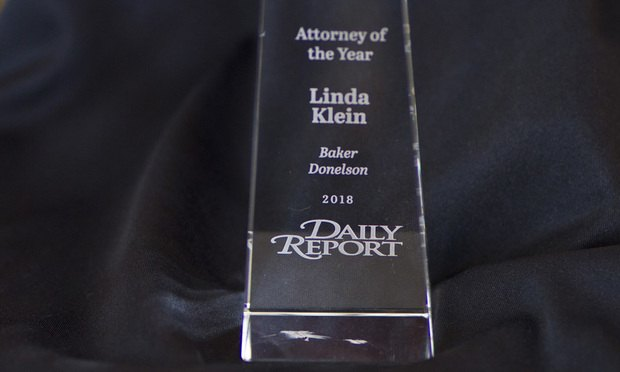 Linda Klein of Baker Donelson was named attorney of the year for 2018.