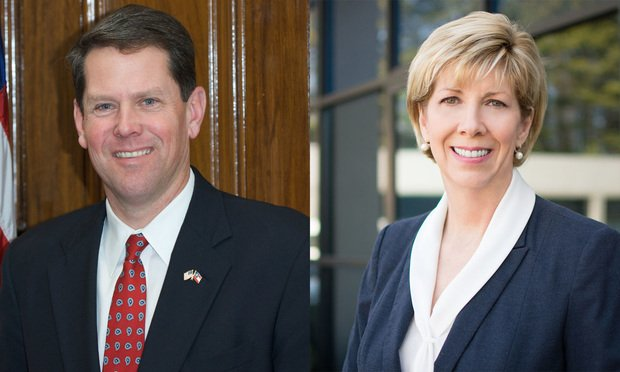Secretary of State Brian Kemp (left) and former Secretary of State Cathy Cox (Courtesy photos)