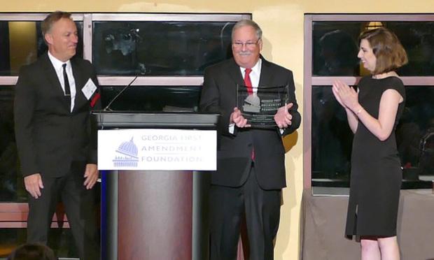 Georgia First Amendment Foundation board member Jim Zachary (left) and Amelia Weltner presented the Charles L. Weltner Freedom of Information Award to Senior Judge James Bodiford. (Courtesy photo: John McCosh)