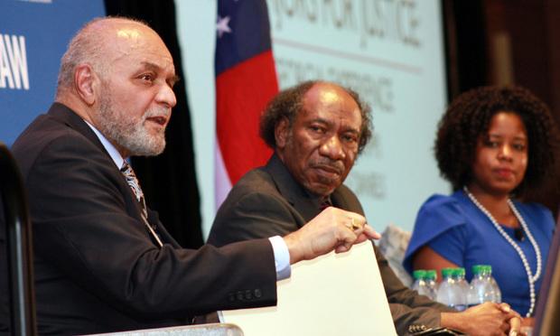 Judge Herbert Phipps (left) speaks on a panel along with Maurice Daniels and Jamala McFadden. (Photo: John Disney/ALM)