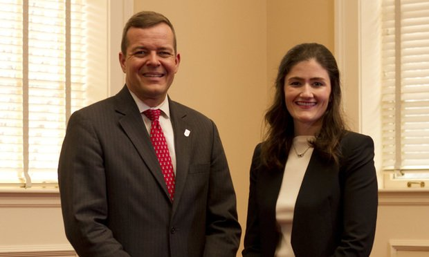 UGA Law Dean Bo Rutledge (left) and Amanda Newton (Photo: John Disney/ ALM)