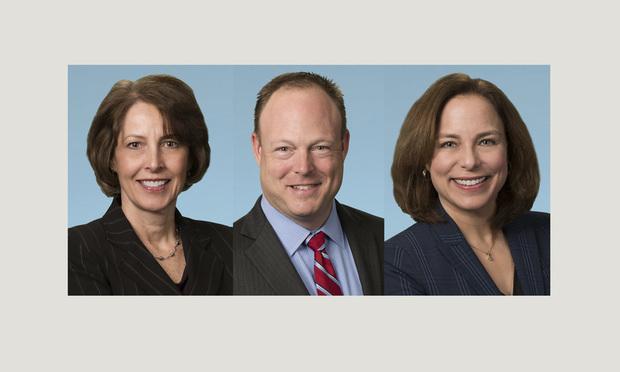 Margaret Jacobsen Scheele (from left), Daniel E. Farrington, and Sarah K. Biran, partners with The Farrington Firm. (Courtesy photos)