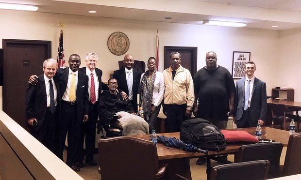 Beasley Allen trial team in the Smith v Ford case, with plaintiff Tre Smith and his family (from left) Bill Gamble, local counsel from Selma, Kendall Dunson, with Beasley Allen, Greg Allen, with Beasley Allen, plaintiff Tre Smith, Beasley Allen 1st attorney LaBarron Boone, plaintiffs mother Stacy Bynum, step-father Markle Bynum, plaintiff's father Frank Turner, and Dan Philyaw, with Beasley Allen.