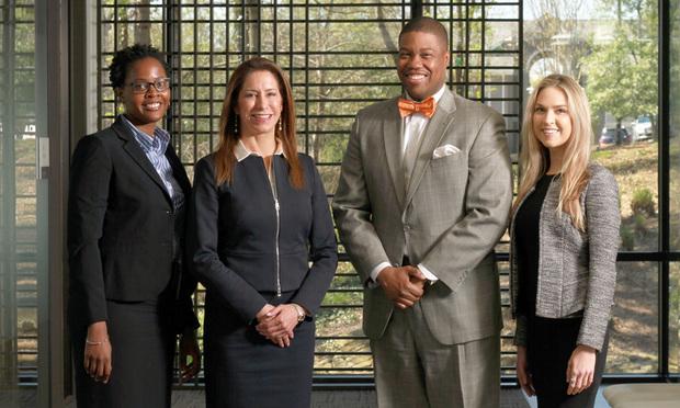 Adebola Lamikarna (from left), Brynda Insley, Walter Yarbrough and Jennifer Pfanzelt, Taylor & English, Atlanta. (Photo: John Disney/ALM)
