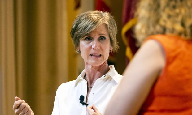 Former Deputy Attorney General Sally Yates talks candidly about the impact of her father's death by suicide with veteran journalist Brenda Wood at the 2019 Dorothy C. Fuqua Lecture presented by Skyland Trail and Grady Health System on Wednesday, May 1, 2019 in Atlanta. This year's lecture focused on mental health and the path forward in suicide prevention. (Photo: John Amis/AP Images for Grady Health System)