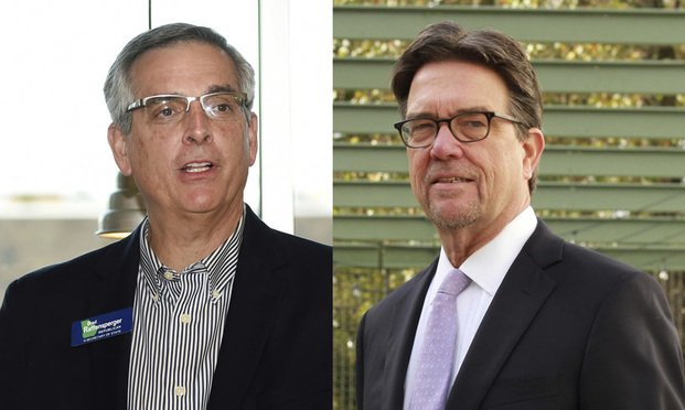 Brad Raffensperger (left) and Bruce Brown (Photos: Michael Holahan/The Augusta Chronicle via AP and John Disney/ALM)