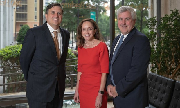 (Left to right) Atlanta managing partner Colin Kelly and partners Anna Sumner Pieschel and Josh Becker, Shook Hardy & Bacon.