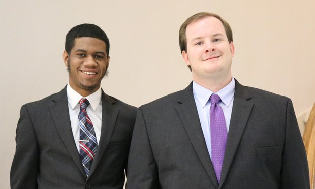 Sharod McClendon, left, and Tyler Mathis, right, are creating the School of Law's First-Generation Student Association