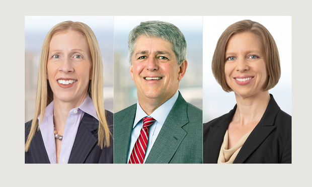Lynne Wakefield (from left), Jim Earle and Emily Zimmer, Troutman Sanders, Atlanta. (Courtesy photos)