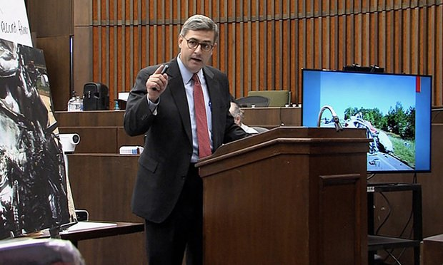Brandon Peak of Butler Wooten & Peak makes closing argument for Madere v. Schnitzer in Muscogee County State Court. (Courtesy photo)