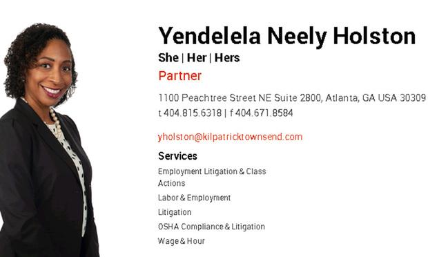 Yendelela Neely Holston, a partner with Kilpatrick Townsend & Stockton. Courtesy photo.