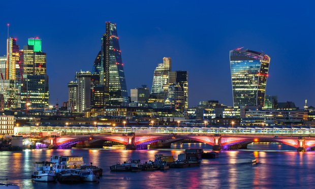 London's financial district at night. (Photo: Shutterstock.com)