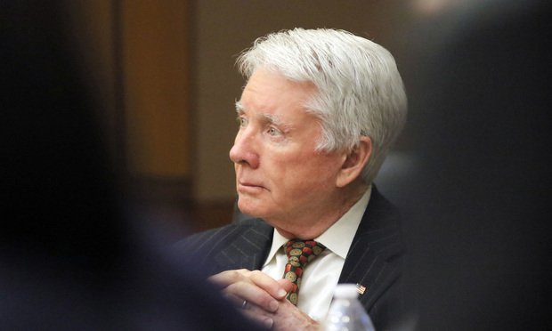 "Claud ""Tex"" McIver listens to discussion about the jury's trip to the basement to see McIvers' Ford Expedition where the shooting took place during his trial, Monday, April 16, 2018, in Atlanta. McIver faces charges including murder in the September 2016 death of his wife, Diane McIver. (Bob Andres/Atlanta Journal-Constitution via AP, Pool)"