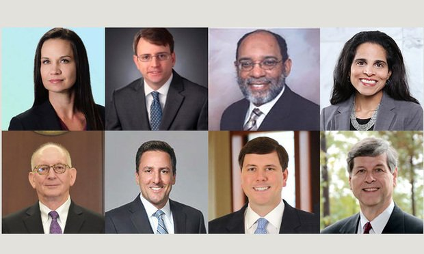 "The inaugural members of the Georgia Business Court Rules Commission are, left to right, top: Jessica Perry Corley, William P. ""Will"" Horkan, Lester B. Johnson III, Usha Rodrigues. Bottom: J. Stephen ""Steve"" Schuster, Rocco E. Testani, Robert A. ""Bob"" Watts, and Joel O. Wooten."