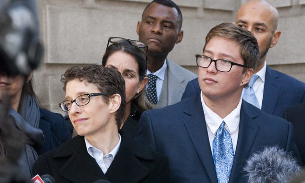 Tara Borelli (from left) with Lambda Legal outside the courthouse for the U.S. Court of Appeals for the Eleventh Circuit in Atlanta with her client Drew Adams. (Photo: John Disney/ALM)