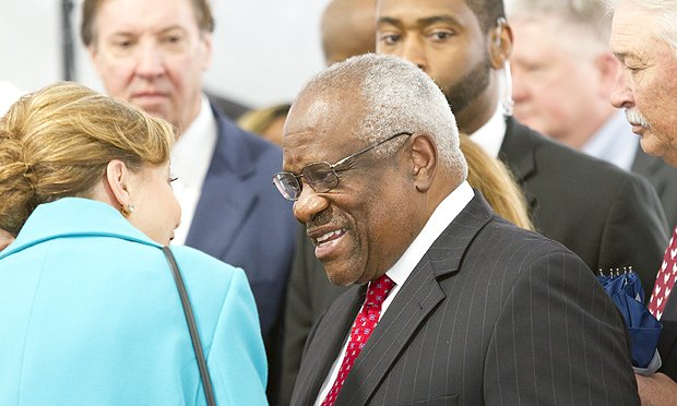Supreme Court Justice Clarence Thomas mingles with the crowd after giving the keynote address at the dedication ceremony of the Nathan Deal Judicial Center on Tuesday February 11th 2020. (Photo: John Disney/ALM)