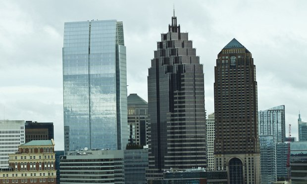 Midtown Atlanta towers (from left) Towers, King & Spalding Atlanta, Smith Gambrell and Russell and The Four Seasons which houses many small boutique law firms. (Photo: John Disney/ALM)