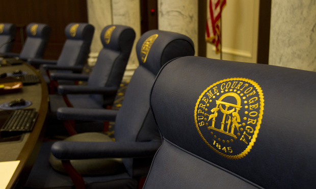 A detail of one of the Justices chairs in the Supreme Court courtroom in the Nathan Deal Judicial Center.The chairs were reupholstered by inmates at Montgomery State Prison and embroidered by inmates at Hancock State Prison.