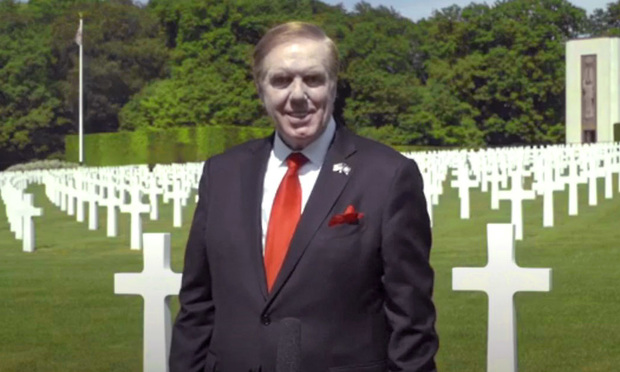 U.S. Ambassador Randy Evans a Georgia lawyer (now US ambassador to Luxembourg) in the US cemetery, during his remarks for V-E Day. (Courtesy photo)