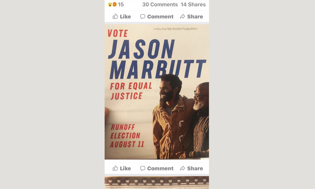 Judicial candidate Jason Marbutt's flier with stock photos of two African American men.