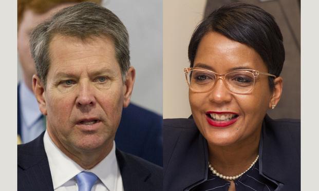 Gov. Brian Kemp (left) and Atlanta Mayor Keisha Lance Bottoms. (Photos: John Disney/ALM)