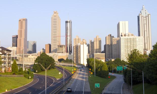 Near-empty highways headed into Atlanta, Georgia.