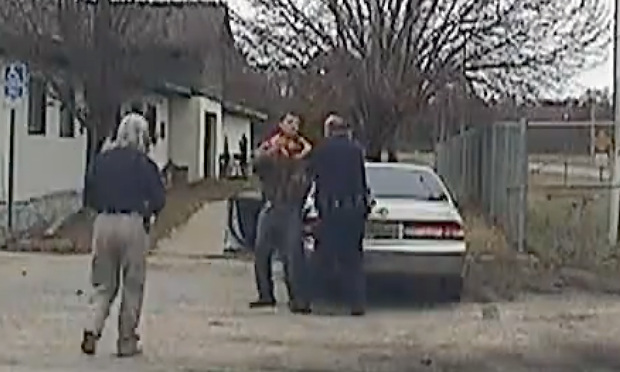 Officers Adrianne Woodruff (left) and Alan Rhodes confront Robert Earl Lawrence, resulgint in Lawrence's the shooting. (Courtesy photo: Courtesy of Hank Sherrod)
