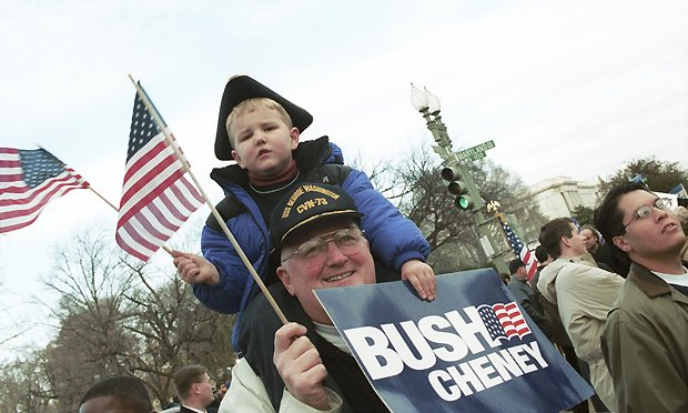 Bush supporters (father and son) at Supreme Court on day Florida recount arguments were heard. Credit: Stacey Cramp. 12/1/00.