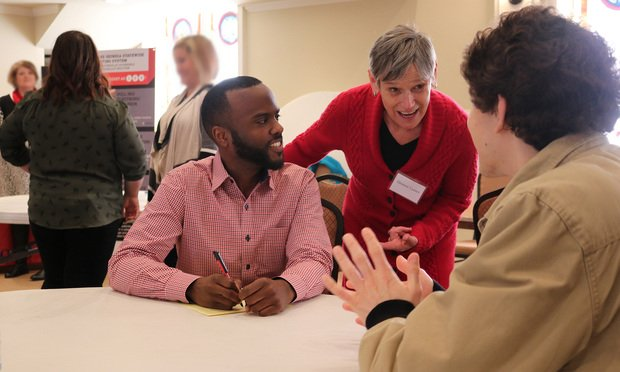 With funding from the Callaway Foundation, the UGA School of Law will expand the provision of legal services through its 18 clinics to rural and legally underserved communities in Georgia. In this mid-February 2020 photo, law student DeVaughn Swanson (left) and faculty member Eleanor Crosby Lanier (center) counseled a client during a community outreach event in Athens. (Photo: Courtesy Photo)