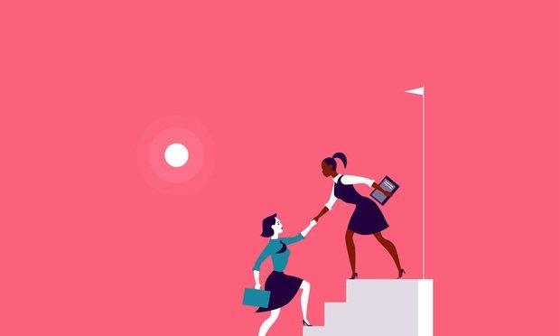 Flat illustration with business ladies climbing on top of white stairs together on red background. Victory, achievement, reaching aim, partnership, motivation, lady team, feminism - metaphor.