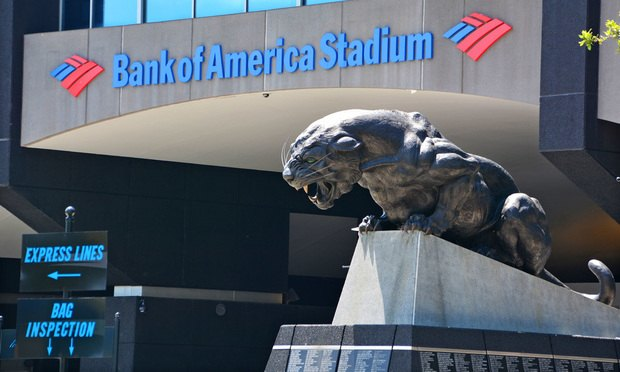 Bank of America Stadium in Charlotte home of the NFL's Carolina Panthers