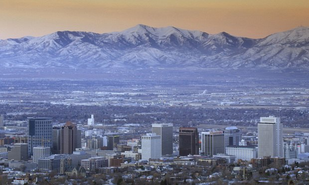 Salt Lake City with the Wasatch Mountains in the background.