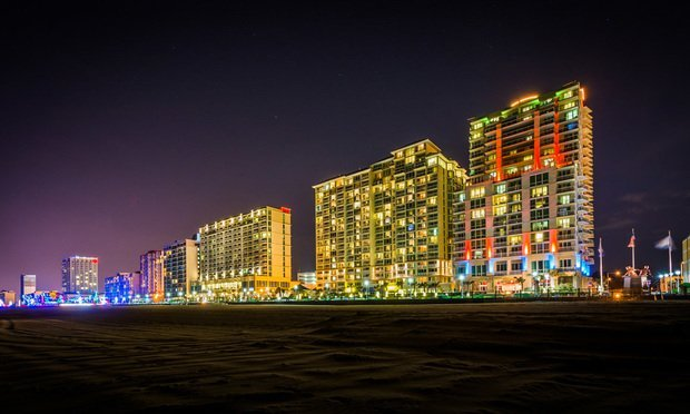 High Rise Hotels On The Oceanfront At Night In Virginia Beach