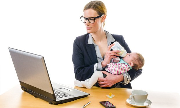 Working mother with baby.