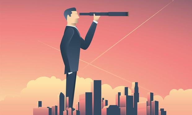 businessman with telescope illustration
