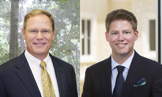 <i>David Hall, left, regional managing partner of the Birmingham, Alabama, office of Wilson Elser, and Steve Kennedy, regional managing partner of the firm's new Jackson, Mississippi, office. (Courtesy photos)</i>