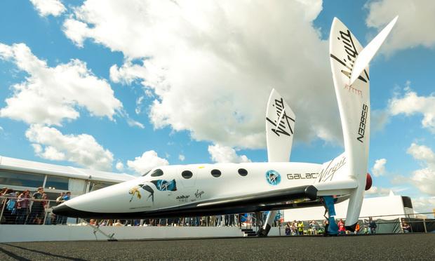 Virgin Galactic's reuseable, sub-orbital spacecraft on display at the Farnborough International Airshow, UK