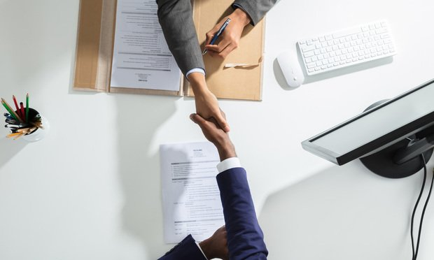 Stock photo, job candidate handshake