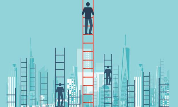 businessmen climbing ladders