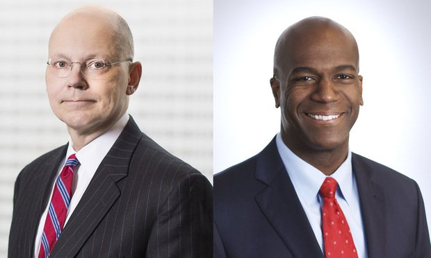 J. Tracy Walker, McGuireWoods managing partner, left, and Rich Davis, the firm's new COO, right.
