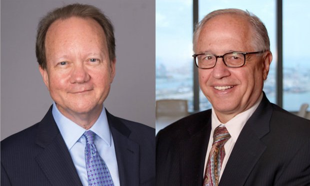Dentons CEO Joe Andrew, left, and Greenberg Traurig chair Richard Rosenbaum.