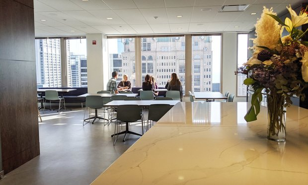 The lunch area in Dinsmore's new Chicago office space. (Photo: David Thomas/ALM)