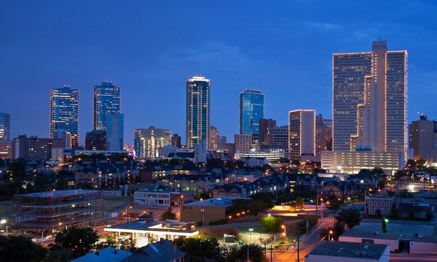 Skyline of Fort Worth, Texas at night.