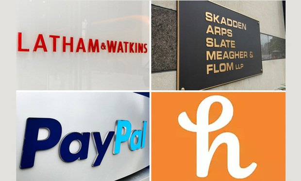 Latham & Watkins logo, Skadden logo, PayPal logo and Honey Science Corp. logo