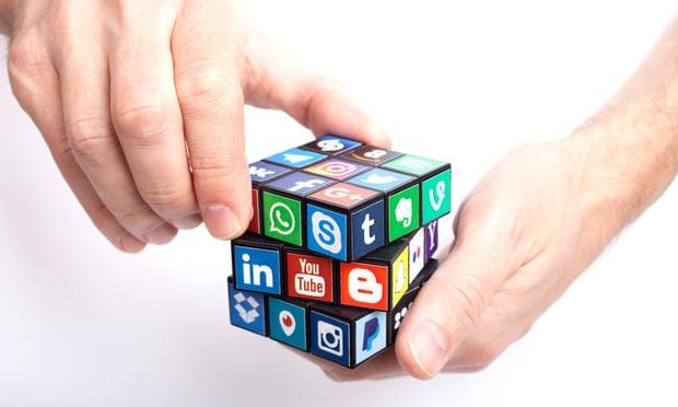 social media rubik's cube stock image