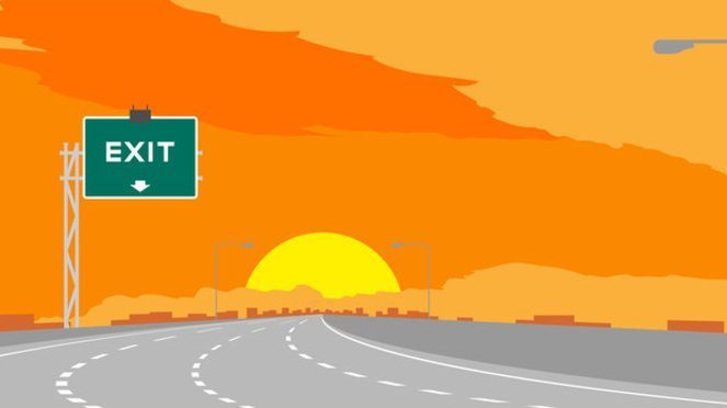 Highway at sunset with exit sign (stock image)