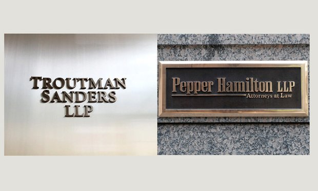 Troutman Sanders and Pepper Hamilton signs.